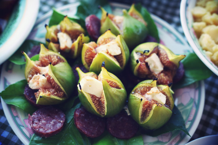 Figs with goat cheese and salami